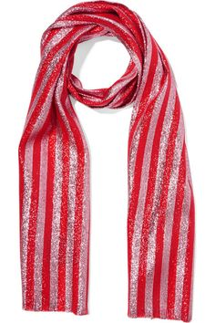 Red and pink silk-blend lamé 59% silk, 24% metal fiber, 18% polyamide  Dry clean Made in Italy