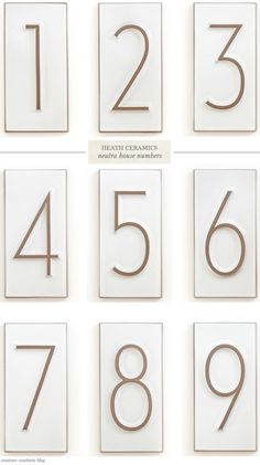 These Neutra House Numbers from Heath Ceramics really are quite lovely. via Creature Comforts Ceramic House Numbers, Tile House Numbers, Exterior Signage, Heath Ceramics, Ceramic Houses, Creature Comforts, Reno, Home Interior, Interior Design