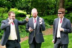 I love this shot. I caught the groomsmen standing around, watching something on their iphone. The had all gone to University together and studied music. I love the air drums. How fantastic! Nerissa Sparkman » weddings