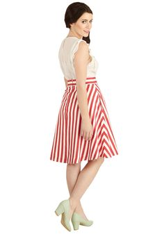 Partake in Peppermint Skirt in Stripes. Take part in many fun ventures in the vertical red and white stripes of this circle skirt by Bea  Dot! #red #modcloth