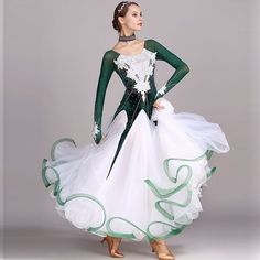 green rhinestones Ballroom dance competition dress standard dresses modern dance costume ballroom waltz dress luminous costumes-in Ballroom from Novelty & Special Use on Aliexpress.com | Alibaba Group