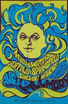 Psychedelic Music Poster, 1966-1968, Muddy Waters, Filmore.