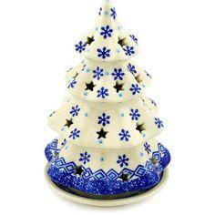 Polish Pottery 8-inch Christmas Tree Candle Holder | Boleslawiec Stoneware | Polmedia H2018D | Polmedia