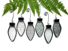 Stained Glass Christmas Lights - Clear Textured Suncatchers Window Ornaments
