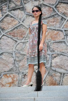 Xia Aifeng More then floor lenght braid Beautiful Braids, Beautiful Long Hair, Gorgeous Hair, Rapunzel, Girl Hairstyles, Braided Hairstyles, Super Long Hair, Braids For Long Hair, Dream Hair