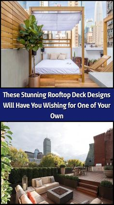 The most common place to find a rooftop deck is in the city, where lack of space lends itself to building up. However, their unprecedented views make rooftop de Outdoor Dining, Outdoor Decor, Rooftop Deck, Garden Types, Deck Design, Lounge Areas, Porch Swing, Building Design, Great Places