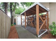 Outdoor Bike Storage - A bicycle shed is a form of outdoor shelter built to protect bicycles from the elements. Outside Bike Storage, Bike Storage Options, Bicycle Storage Shed, Outdoor Bike Storage, Bike Shed, Shed Storage, Storage Ideas, Bike And Kayak Storage, Backyard Storage