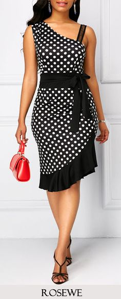 Ruffle Hem Polka Dot Print Black Dress