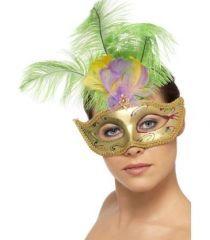 Masca speciala pentru carnavaluri si petreceri, cu maner si forma extraordinara cu pene.