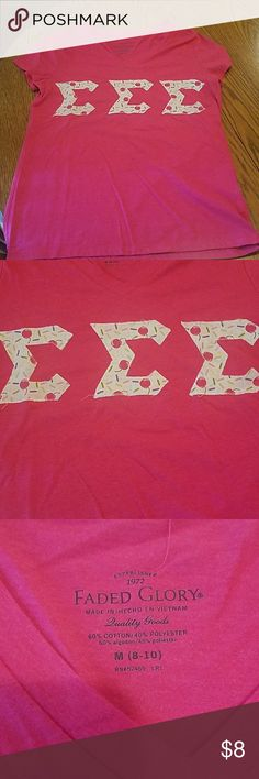 Cherry & Sprinkles Tri Sigma lettered tee Handmade by me years ago. Tops Tees - Short Sleeve