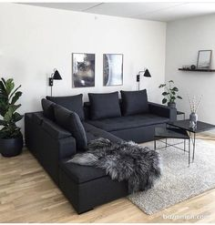 37 Awesome Monochrome Living Room Decor Ideas - To bring a monochrome scheme fully alive, the room needs an even balance of black and white accessories.Use square bookshelves lined with sculptural v. Living Room Grey, Small Living Rooms, Home Living Room, Apartment Living, Interior Design Living Room, Living Room Designs, Modern Living, Cozy Living, Minimalist Living