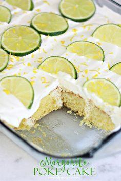 Margarita Poke Cake.  Using a box mix with an incredible (non alcoholic) Margarita filling & topping
