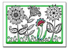 Flower Garden 5x7 Card and Bookmark Doodle Set