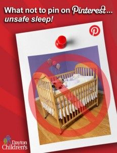 Pinterest is a great place to get ideas for your baby's room, but keep in mind that not everything you see is safe for baby. Help keep all babies safe by only pinning examples of safe infant sleep environments!