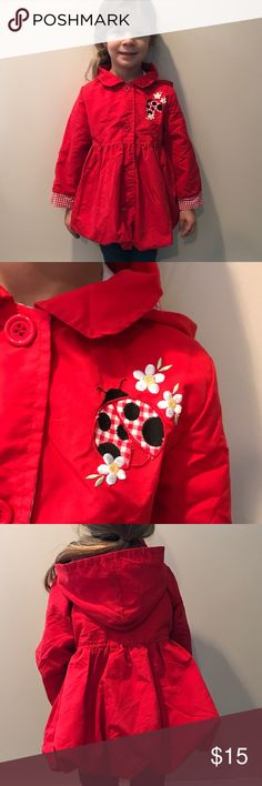 Kids HQ red lightweight jacket. Size 4t Excellent condition Kids Headquarters red ladybug lightweight jacket. Size 4t. Button closure. Detachable hood. Kids Headquarters Jackets & Coats