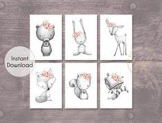 Grey Coral Pink Woodland Animal Set of 6 Printable Prints - Wall Art Printable Prints Nursery Prints, Nursery Wall Art, Floral Nursery, Nursery Decor, Nursery Ideas, Bedroom Decor, Room Ideas, Decor Ideas, Woodland Animal Nursery