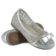 Kids Ballet Flats Lace Mesh Bow and Chain Casual Slip On Shoes Silver Girls Ballet Flats, Ballet Kids, Mesh Bows, Casual Slip On Shoes, Silver Shoes, Kid Shoes, Kids Girls, Wedges, Chain