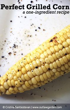 Perfect grilled corn, a one-ingredient recipe. Yum!