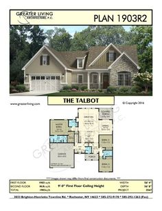 Plan 1903R2: THE TALBOT - Ranch House Plan - Greater Living Architecture - Residential Architecture