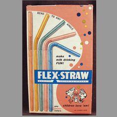 Old, Paper Flex-Straws, Pastel Colored, in Original Box