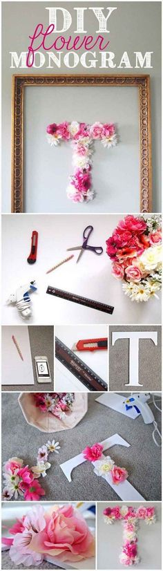 DIY Flower Monogram: This cute monogram made with faux flowers is easy and fun to make. It will surely make a statement for your teen daughter's bedroom decor!