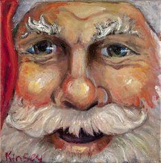 Santa Closeup Painting by Sheila Kinsey