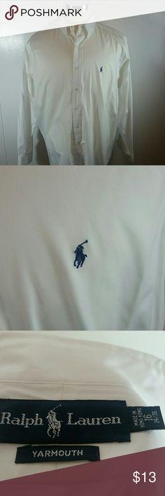 Ralph Lauren Yarmouth Button Down Shirt Ralph Lauren Yarmouth white button down shirt. 100% cotton.  Size 16-34/35. Good condition. Ralph Lauren Shirts Dress Shirts