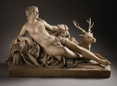 Diana with a Stag and a Dog, Jean-Baptiste Tuby I, 1687; the Roman goddess of the moon and hunt is depicted with some of her symbolic attributes, a bow, stag and dog. (LACMA)