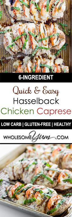 Hasselback Chicken Caprese (Low Carb, Gluten-free) - This hasselback chicken Caprese recipe is healthy, easy, and quick, with just 6 ingredients and 10 minutes of prep time. Naturally low carb and gluten-free.
