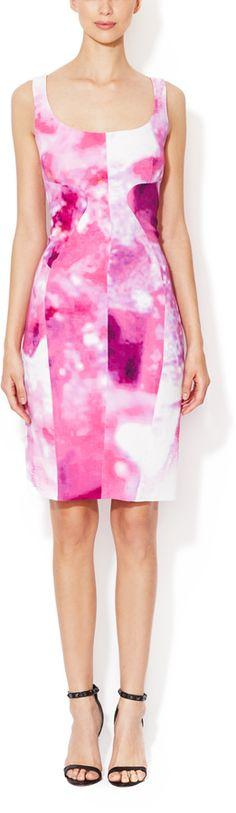 Monique Lhuillier Seamed Scoopneck Sheath Dress on shopstyle.com