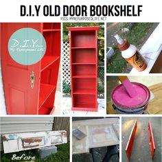DIY Old door bookshelf
