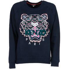 Kenzo Tiger Sweatshirt (12.260 RUB) ❤ liked on Polyvore featuring tops, hoodies, sweatshirts, kenzo sweatshirt, blue top, blue sweatshirt, kenzo top and kenzo