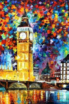 London Wall Art Big Ben Oil Painting On Canvas By Leonid Afremov. #paintings #ad