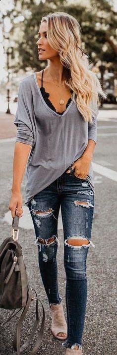 fall outfits gray long-sleeved deep V-neck shirt. fall outfits gray long-sleeved deep V-neck shirt. Sarah Looks Women&;s Sweaters […] fall outfit Mode Outfits, Casual Outfits, Fashion Outfits, Womens Fashion, Fashion Clothes, Fashion Ideas, Ladies Outfits, Jackets Fashion, Fashion Hacks