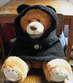 cagoule à oreilles d'ourson pour adulte tricotée main