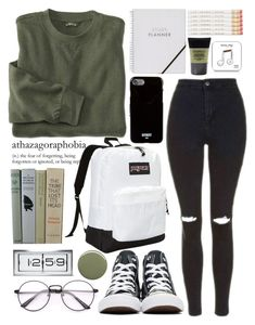 """""""Untitled #95"""" by slytherin-for-life ❤ liked on Polyvore featuring Elodie, JanSport, Converse, Topshop, Oribe, Smashbox, Givenchy, Happy Plugs and LEFF Amsterdam"""