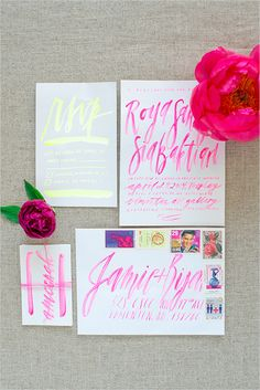 Neon invitations, these are great.