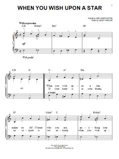 when you wish upon a star easy piano sheet music - Google Search