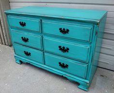Facelift Furniture: Turquoise Dresser