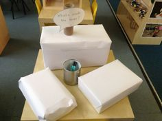 What's inside the boxes challenge which the children loved! 3 different sizes and weights which all made different noises (according to what was inside) encouraging the children to use all of their senses, and then write their guess on the box. Also great for prompting discussions with each other. #abcdoes #talkmatters