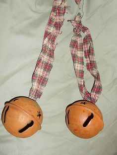 Rusty tin bells grungy ties country primitive decor ornaments lg country bells