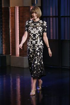Anna Wintour in Givenchy by Riccardo Tisci. Late Night with Seth Meyers.