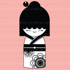 Rubber Stamp - Kokeshi Doll (Mini CRAFT STAMP) C1151. $5.00, via Etsy.