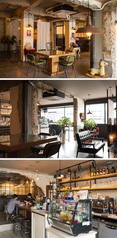 [No.25 포레스타] 주택개조 빈티지 까페인테리어 38평, 기존 공간을 활용한 카페 리모델링 Brick Interior, Cafe Interior Design, Interior Concept, Cafe Design, Cafe Restaurant, Restaurant Design, Brick Cafe, Asian Cafe, Cafe Display