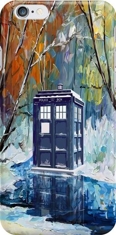 Snowy Blue phone box at winter zone iPhone Cases #Accessories #Case #CellPhone #iPhonecase #hardcase #tardis #doctorwho #painting #art #blue #starrynight #autumn #winter #phonebox
