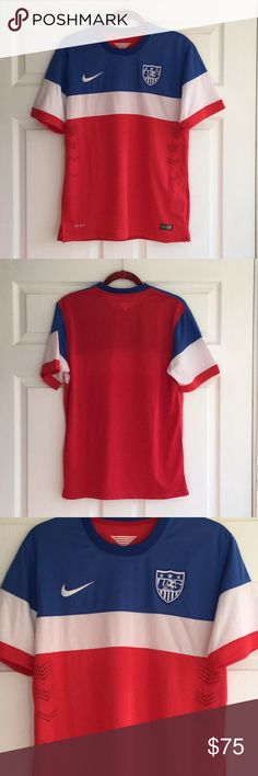 (Men) Nike - Official Jersey US National Soccer Excellent condition. It is Small but I feel like it is Medium. World Cup 2014 in Brazil. Dri-Fit USA Jersey - United States. Nike Shirts Tees - Short Sleeve