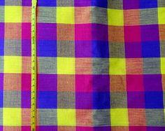 Orange Striped shot cotton woven fabric   DIY Craft Sewing