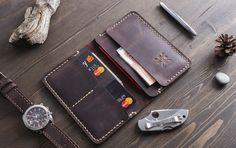 Cartera billetera de cuero de los hombres cartera para