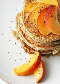 "Peach Poppyseed Cottage Cheese Pancakes :: I made them without the peaches or poppyseeds just to see what the ""base"" tasted like, and I loved them! They were a little thin so I may try upping the baking soda to 1/2 tsp next time."