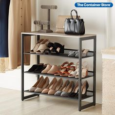 When a shoe rack is this pretty, it doesn't have to hide in a closet. This shoe organizer includes a wooden top tier for storage or display. Below, three generously sized mesh shelves can be positioned how you want: angled for easy viewing or flat to hold shoes, handbags and folded garments. Lipped edges keep contents from slipping or rolling away. Placed in an entryway, this can be a landing area for bags, glasses and phones, while keeping shoes protected until the next trip outside.